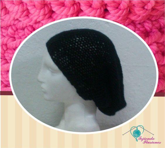 Modelo Nº 77: Beanie negro, tejido en dos agujas super original y a la moda,  #beanie #gorrocolgado #boina #tejido #moda #geek