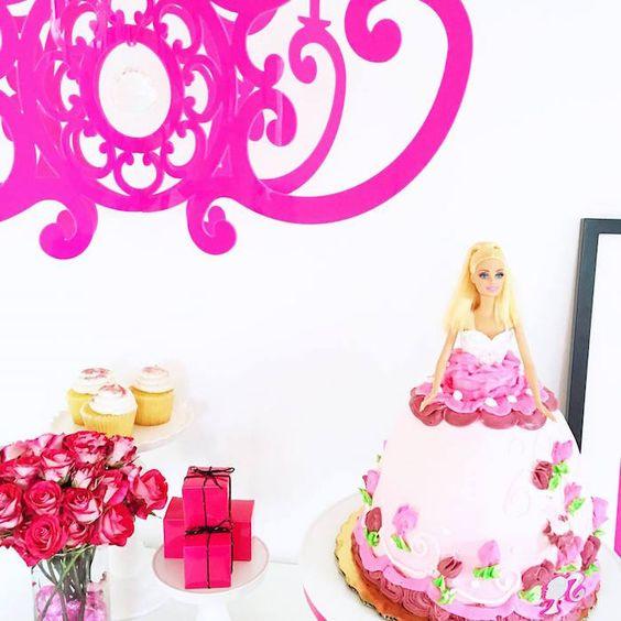 Glam Barbie Birthday Party on Kara's Party Ideas | KarasPartyIdeas.com | Hot Pink Chandelier NK styled by Celebration Stylist