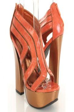 Orange Faux Leather Two Tone Platform Chunky Heels