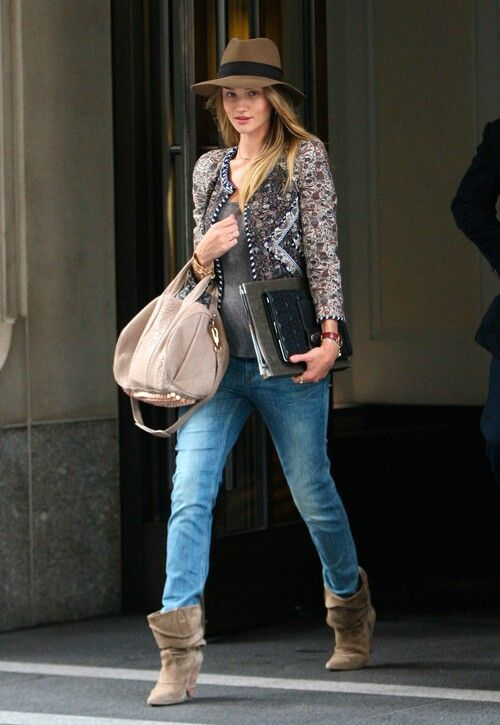 Alexander Wang Bag Embellished Jacket Hat Ankle Boots Outfit By Rosie Huntington Whiteley