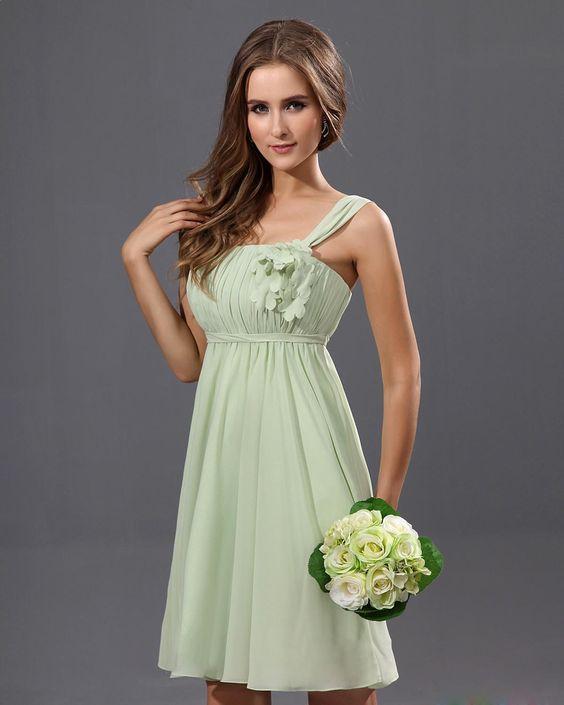 Sleeveless Knee Length Chiffon A-line Bridesmaid Dress With Hand Made Flowers