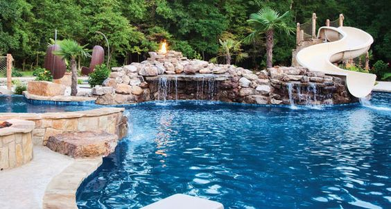Exotic Swimming Pools With Grottos : Luxury pools swimming has big waterslide with