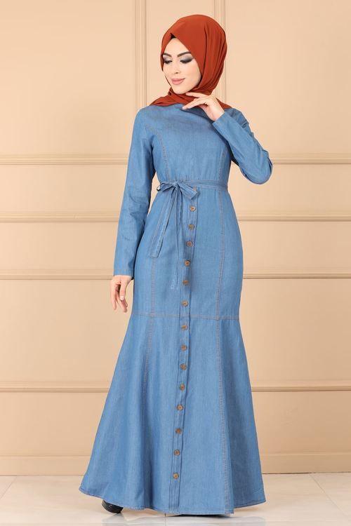 Modaselvim Elbise Aksesuar Dugmeli Kot Elbise 8606w153 Acik Kot Kot Elbiseler The Dress Elbise
