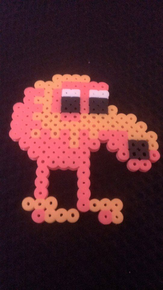 Qbert pixel art bead sprite kandi as magnets by ...