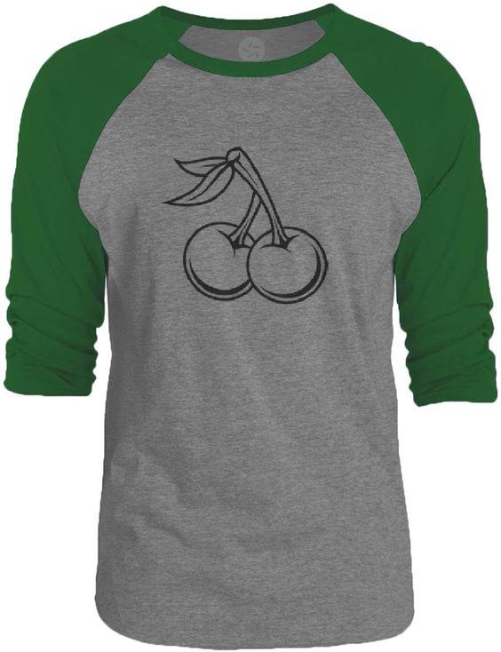 Big Texas Cherry Tattoo (Black) 3/4-Sleeve Raglan Baseball T-Shirt
