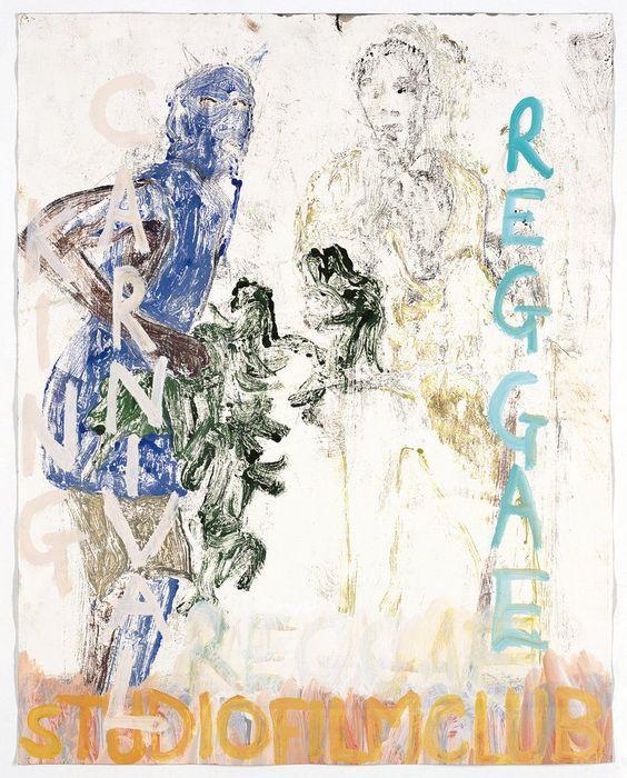 """""""KING CARNIVAL REGGAE""""  2005 [""""Reggae"""" GB 1970, 60', R / D: Horace Ové """"King Carnival""""  GB 1972, 40', R / D: Horace Ové] Sammlung Ringier oil on paper 73 x 57 cm / 29 x 22"""" PETER DOIG."""