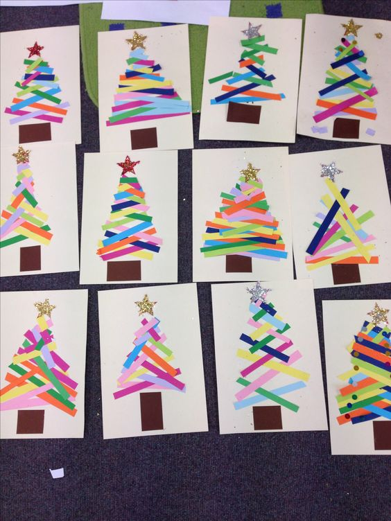 Kindergarten: Do this as a center. Christmas tree paper strips ...