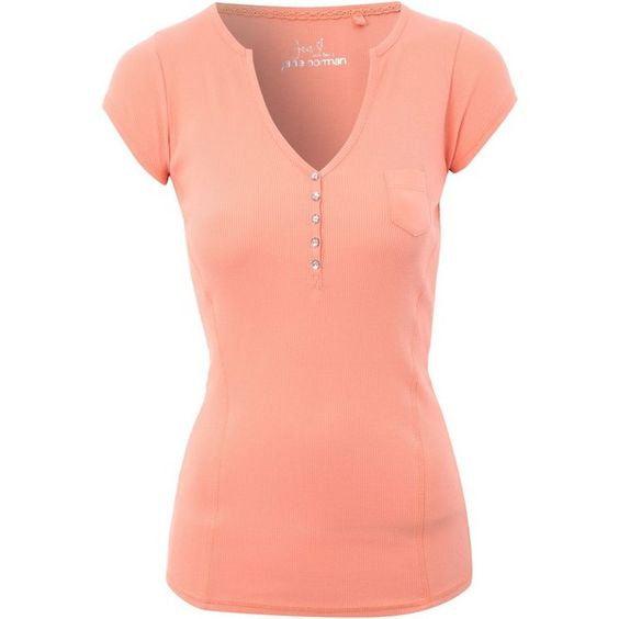 Jane Norman Ribbed Henley T-Shirt ($18) ❤ liked on Polyvore featuring tops, t-shirts, pink, women, pink t shirt, red t shirt, women tops, ribbed tee and v neck t shirts