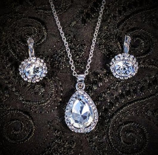 Teardrop Crystal Necklace And Round Crystal by BlingAfterTheRing