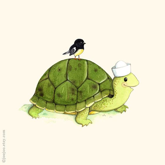 T is for Turtle and the little bird on his back is called Tomtit! A small bird from New Zealand. Isnt that cute!! :o)  Print of an original watercolor