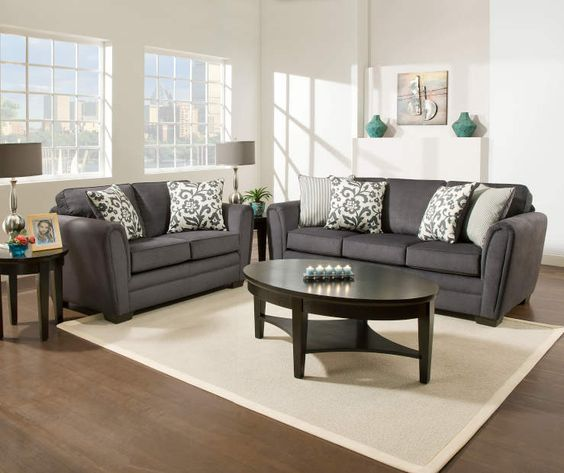 I found a simmons flannel charcoal living room furniture for Find living room furniture
