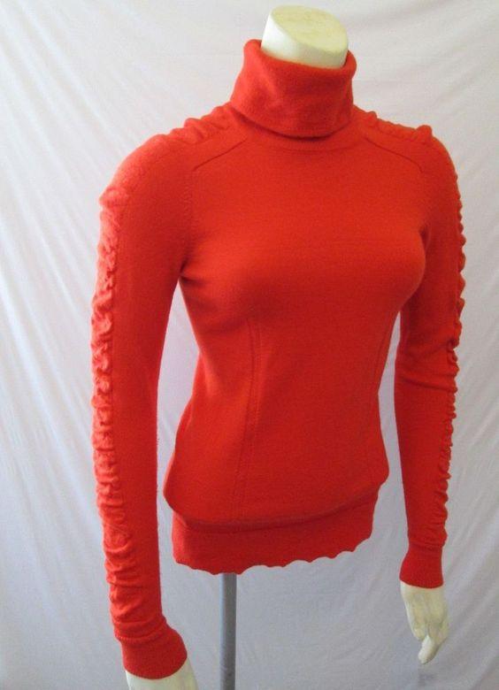 Milly New York 100% Merino Wool Orange Ruched Sleeves Turtleneck Sweater P XS 0 #Milly #TurtleneckMock