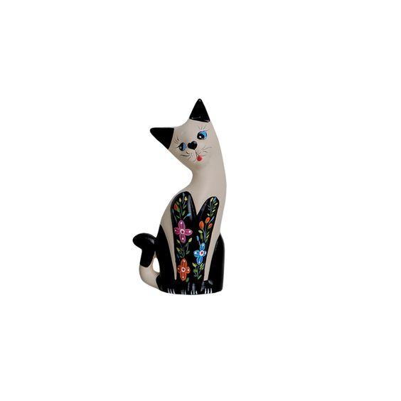 Estatueta Gato Florido Pequeno. Lino acessório decorativo que vai deixar sua casa muito mais aconchegante.