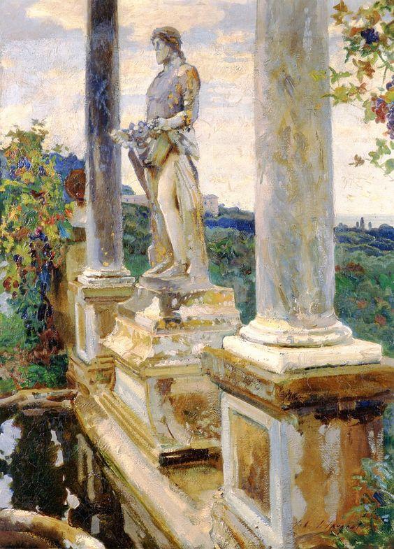 The Athenaeum - Statue of Vertumnus, Villa Falconieri, Frascati (John Singer Sargent - ):