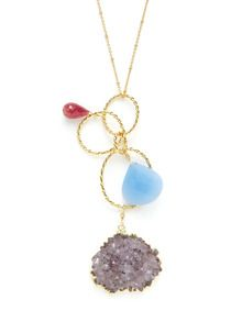Amethyst, Ruby, & Turquoise Multi Circle Pendant Necklace by Alanna Bess Jewelry up to 60% off at Gilt
