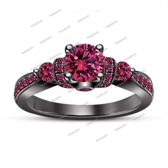 Pink Sapphire 14kt Black Gold Fn Sterling Silver Ladies Special Engagement Ring…