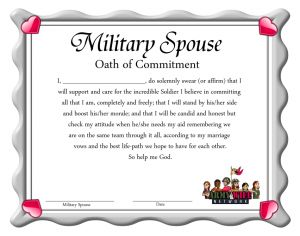 """MILITARY SPOUSE OATH OF COMMITMENT  I do solemnly swear that I will support & care for the incredible Soldier I believe in committing all that I am completely & freely; that I will stand by his/her side & boost his/her morale; & that I will be candid and honest but check my attitude when he/she needs my aid remembering we are on the same team through it all, according to my marriage vows & the best life-path we hope to have for each other. So help me God."""
