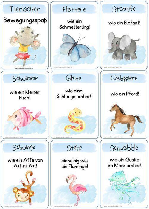 Zaubereinmaleins Designblog In 2020 Animal Movement Kindergarten Activities Infant Activities