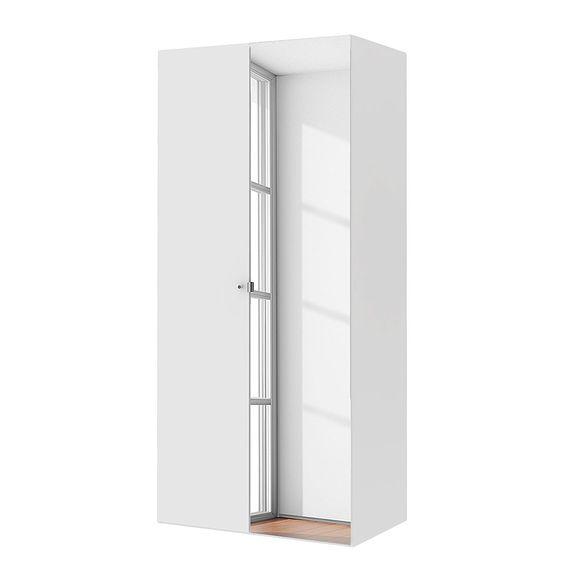 Drehtürenschrank Save - Hochglanz Weiß - 100 cm (2-türig) - 1 Spiegeltür, mooved Schlafen > Kleiderschränke > Drehtürenschränke
