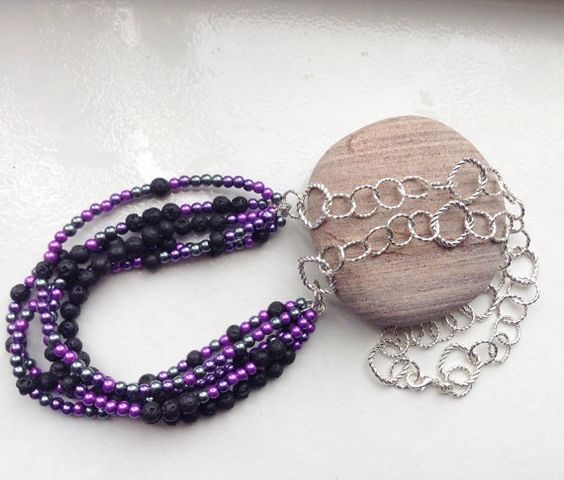 Lava beads necklace purple necklace black by LinniesJewels on Etsy