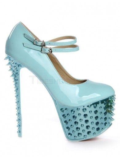 Modern Green Patent Leather Spikes Women's High Heels