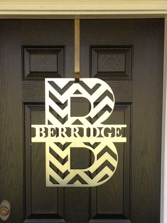 Chevron monogram front door wreath monogram door wreath for Metal letters for front door