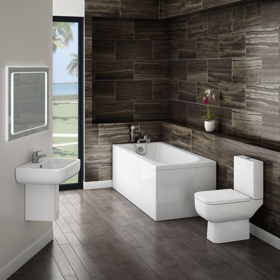 Great looking bathroom suite for £364.00. If its a contemporary look you want then this suite really does fit the bill. Included is a sink, bath and toilet.