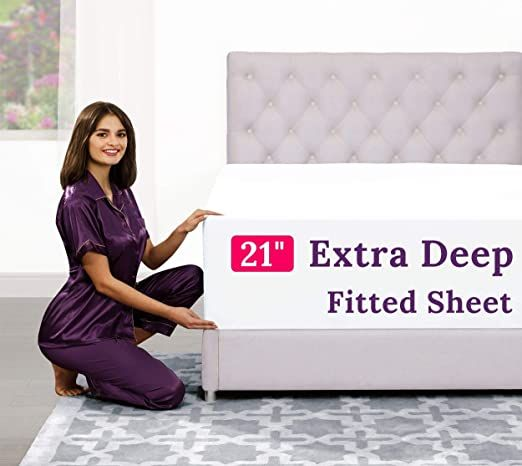 Cal King Fitted Sheet Only Deep Pocket 17 Rdquo 21 Rdquo Inch Extra Deep Pocket Fitted Sheet Only Pillow Top Mattress Fitted Sheet Fitted Bed Sheets California king deep pocket fitted sheet