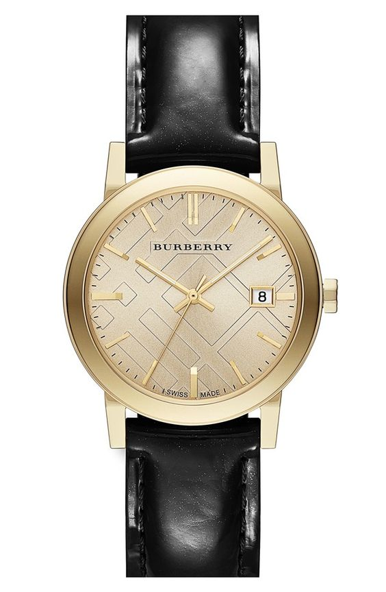 Burberry Check Stamped Round Leather Strap Watch, 34mm #Refinery29