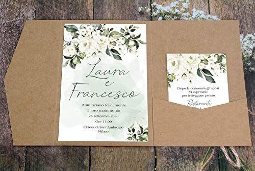 Partecipazioni Matrimonio Personalizzate Inviti Nozze Pocketfold Carta Kraft Fiori Bianchi 10 Pezzi Cesana Like Ph Nel 2020 Matrimonio Personalizzato Nozze Matrimonio