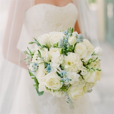 Ivory and Blue Bridal Bouquet  Lush bouquet of white garden roses, lisianthus, freesia with tweedia for a hint of light blue.