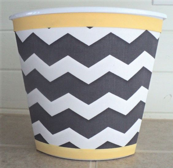 217650594465805849 Wastebasket in Gray Chevron and Mellow Yellow...Child Baby Bedroom Bathroom Nursery Storage Grey. $24.99, via Etsy.
