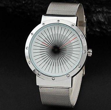 homens da moda rodada turntable banda liga metálica de marcação de quartzo casuais relógio de pulso – USD $ 12.99