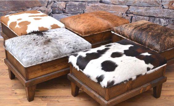 cowhide ottomans