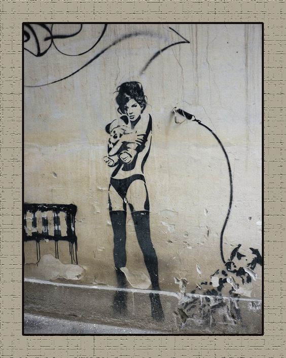 "Street Art Banksy + Others Canvas Prints ""Stripper and Teddy Bear"" Graffiti Punk | eBay"