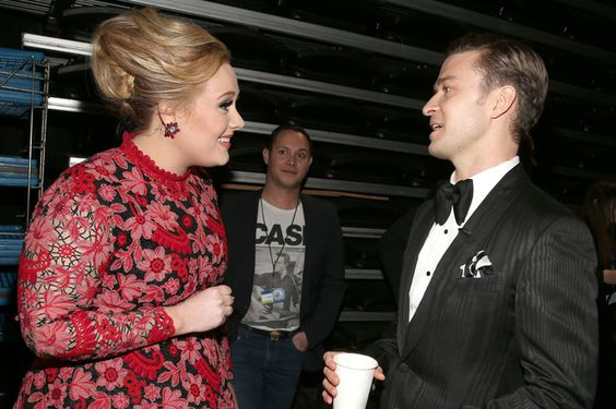 When she adorably listened to Justin Timberlake say something. | The 21 Most Adorable Adele Moments At The Grammys