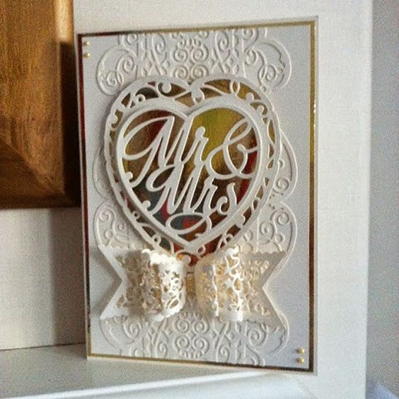 Blog tonic: Wedding Card with Gallant gate Strip die - a card from Karen
