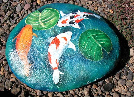 Painted stepping stones goldfish and fun projects on for Stone koi pond