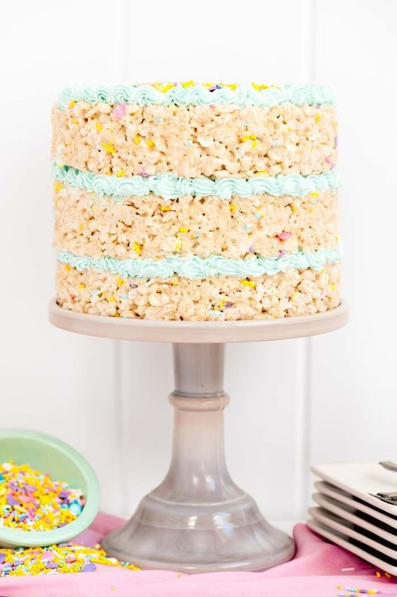 Spring Rice Krispy Treat Cake Recipe Rice Krispies Rice