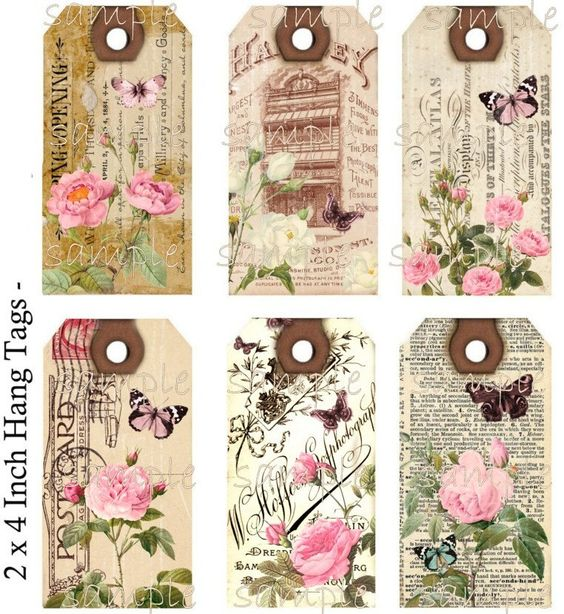 Instant Download Hang Tags  - Shabby Meets Vintage  -  Printable Digital Collage Sheet - Download - pinned by pin4etsy.com