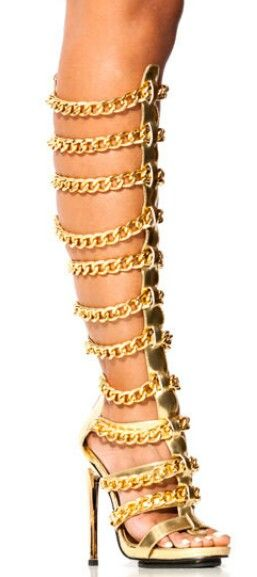 Gold chain gladiator heels | 'Summer boots' | Pinterest | Chains ...