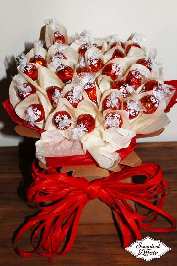 Lindt Red Lindor Chocolate truffle Sweet Bouquet http://www.ebay.co.uk/usr/sweetestaffair