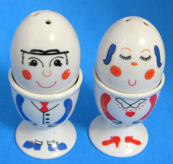 Eggcups Pair Mr And Mrs Egg Cup With Salt by AntiquesAndTeacups