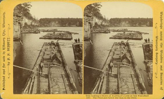 Raftsman's Series No. 1403: The Fleet Just Below The Dam In The Dells | Photograph | Wisconsin Historical Society