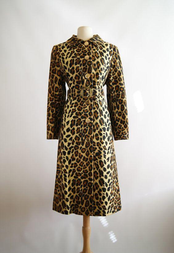 Vintage Leopard Print Coat 1960s Leopard Print by xtabayvintage