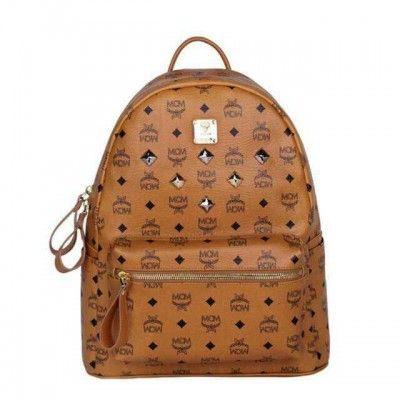 MCM Medium Stark Six Studded Backpack In Brown