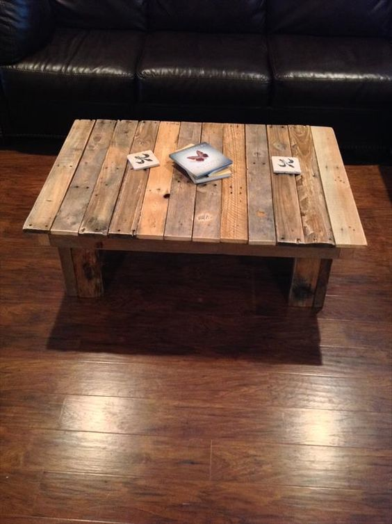 Diy simple wood pallet coffee table 101 pallets diy for Pallet coffee table ideas