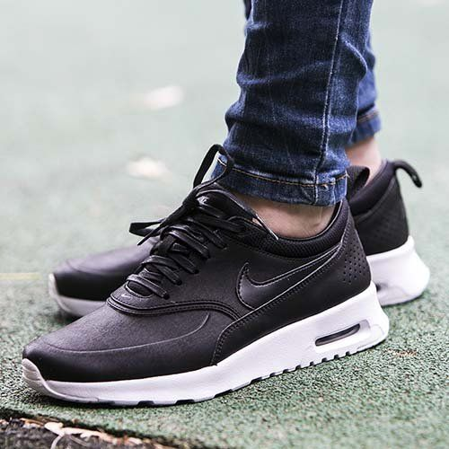 huge discount beaa4 73c35 Nike Air Max Thea Black Premium Leather Sneakers