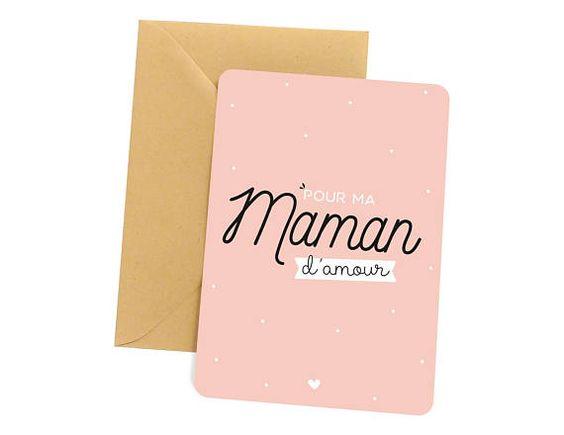 Carte Pour ma maman damour, vendue avec une jolie enveloppe kraft.  • Format A6 (10x15cm) • Papier épais de haute qualité • Bords arrondis  --- Concernant les délais de livraison ---  - 24h en France métropolitaine par lettre prioritaire - 2 à 3 jours en Europe par lettre prioritaire  Les
