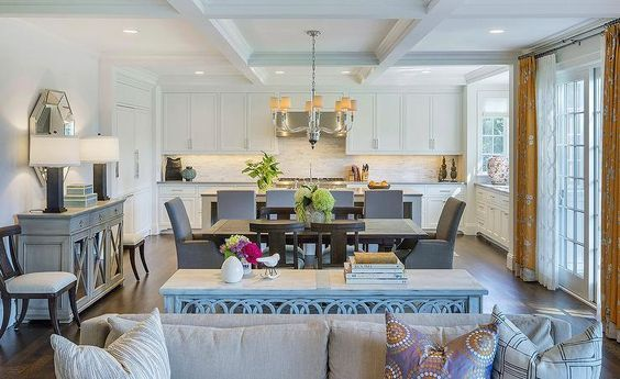 Traditional And Transitional Room Decor South Shore Decorating Blog Open Plan Kitchen Dining Living Living Room Furniture Layout Transitional Dining Room